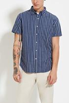 21 Men Men's  Double-striped Denim Shirt