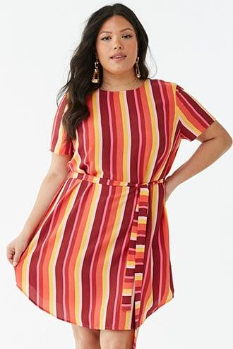 Forever21 Plus Size Belted Striped Dress