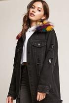 Forever21 Longline Faux Fur Denim Jacket
