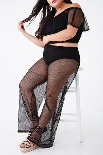 Forever21 Plus Size Mesh Top & Pants Set