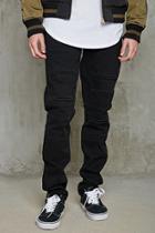 21 Men Men's  Slim-fit Frayed-slit Jeans