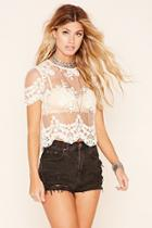 Forever21 Sheer Embroidered Lace Top