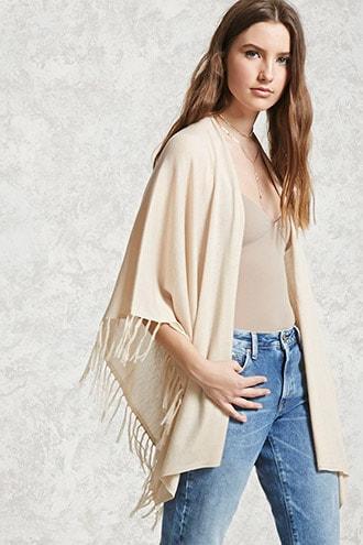 Forever21 Draped Tasseled Sweater Shawl