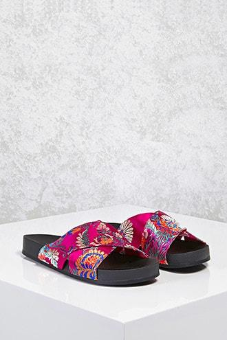 Forever21 Satin Floral Crisscross Sandals