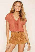 Forever21 Women's  Crochet Lace-up Crop Top