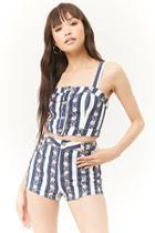 Forever21 Floral Striped Denim Shorts