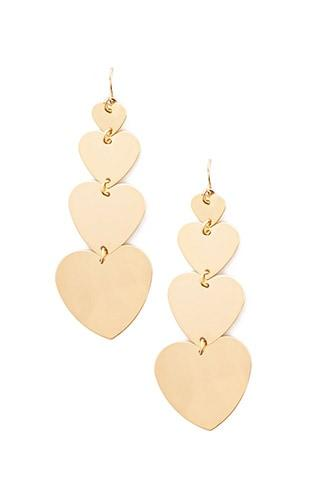 Forever21 Tiered Heart-shaped Drop Earrings