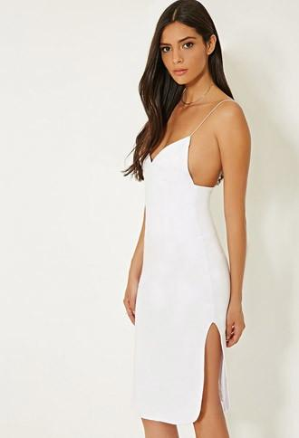 Forever21 Women's  Mlm Cami Side Slit Dress (white)