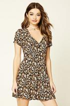 Forever21 Women's  Black & Beige Floral Print Skater Dress