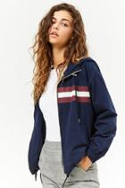 Forever21 Hooded Striped-trim Zip-front Jacket