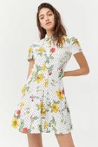 Forever21 Polka Dot & Floral Print Shirt Dress