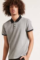 Forever21 Micro-stripe Polo Shirt