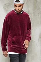 21 Men Men's  Oversized Velour Pullover
