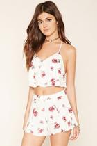Forever21 Women's  Cream & Berry Floral Print Shorts