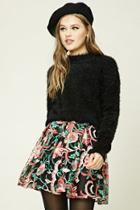 Forever21 Pleated Embroidered Mini Skirt