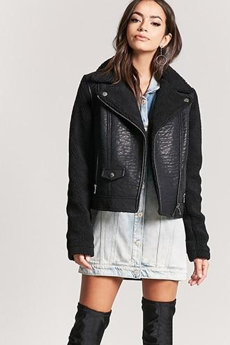 Forever21 Fleece-lined Moto Jacket