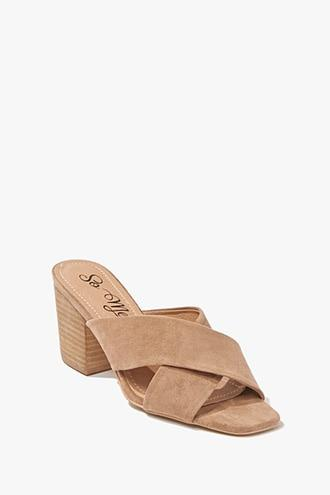 Forever21 Faux Suede Crossover Heels