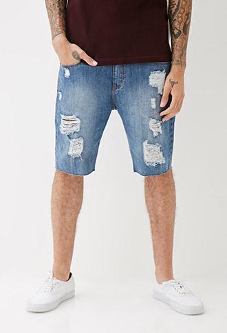 21 Men Medium Wash Distressed Denim Shorts Medium Denim 36
