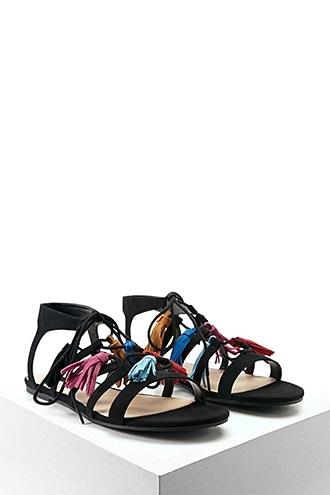 Forever21 Faux Suede Tasseled Sandals