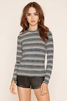 Forever21 Women's  Mock Neck Striped Top