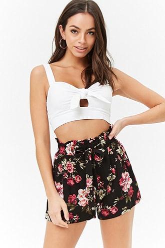 Forever21 Paperbag Waist Floral Shorts