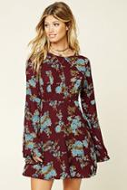 Love21 Women's  Burgundy & Green Contemporary Floral Dress