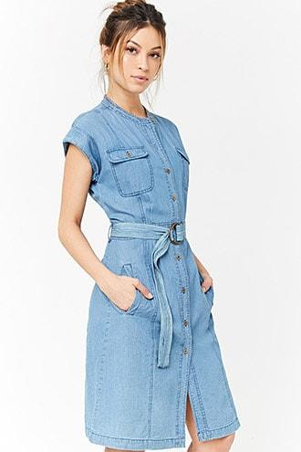 Forever21 Belted Denim Shirt Dress