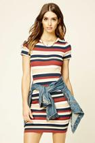 Love21 Women's  Navy & Rust Contemporary Striped Dress
