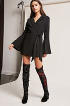 Forever21 Embroidered Velvet Thigh-high Boots
