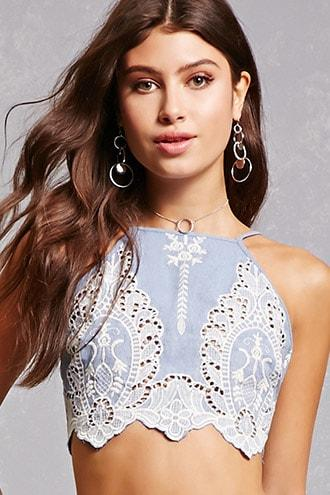 Forever21 Embroidered Lace Crop Top