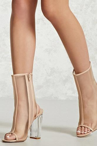 Forever21 Mesh Lucite Ankle Boots