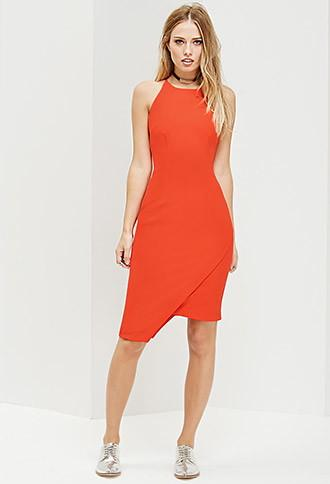 Forever21 Women's  Ministry Of Style Frosted Pencil Dress (red)