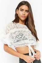 Forever21 Sheer Lace Tie-front Top
