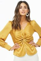 Forever21 Twist-front Satin Top