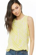 Forever21 Abstract Chiffon Dolphin-hem Top