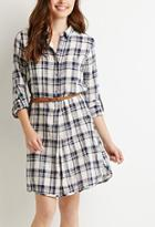 Love21 Belted Plaid Shirt Dress