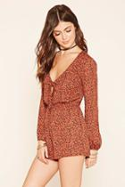 Forever21 Women's  Floral Print Tie-front Romper