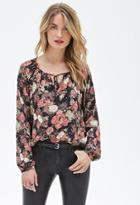 Forever21 Contemporary Cutout Floral Peasant Top