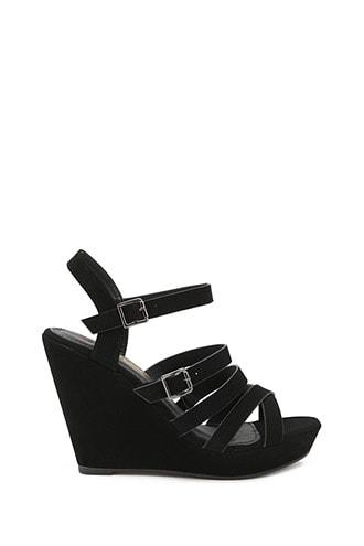 Forever21 Caged Faux Leather Wedges