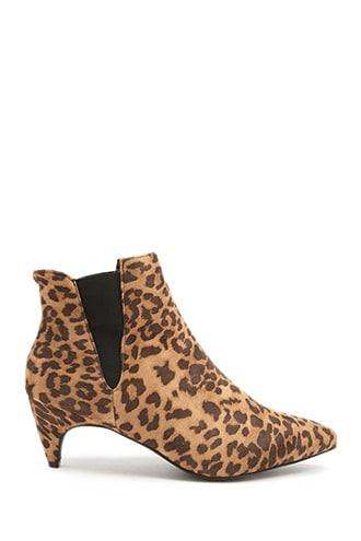 Forever21 Faux Suede Cheetah Print Booties