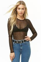 Forever21 Sheer Striped Lace Top