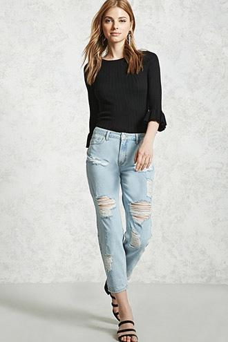 Forever21 Low-rise Distressed Jeans