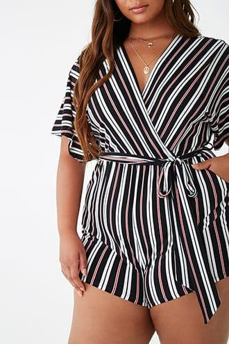 Forever21 Plus Size Striped Belted Romper