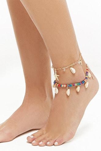 Forever21 Seashell Charm Anklet Set
