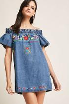 Forever21 Floral Embroidered Denim Dress