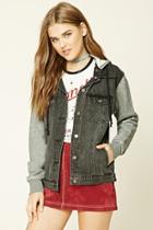 Forever21 Women's  Black & Grey Hooded Denim Jacket