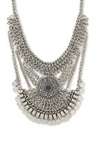 Forever21 Antique Silver Coin Fringe Statement Necklace