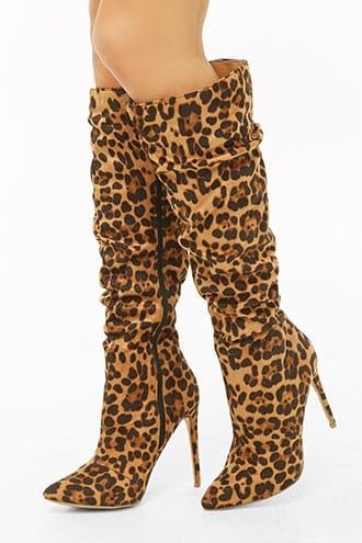 Forever21 Faux Suede Leopard Print Knee-high Boots