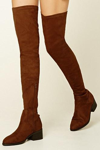 Forever21 Women's  Brown Thigh-high Faux Suede Boots