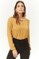 Forever21 Ditsy Floral Chiffon Cutout Top